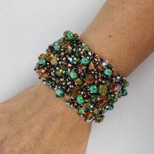 Green & Brown Beaded Magnetic Bracelet